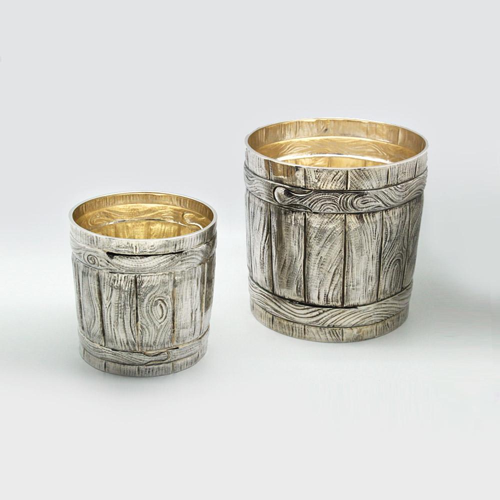 Seau à champagne ciselet bois métal argenté