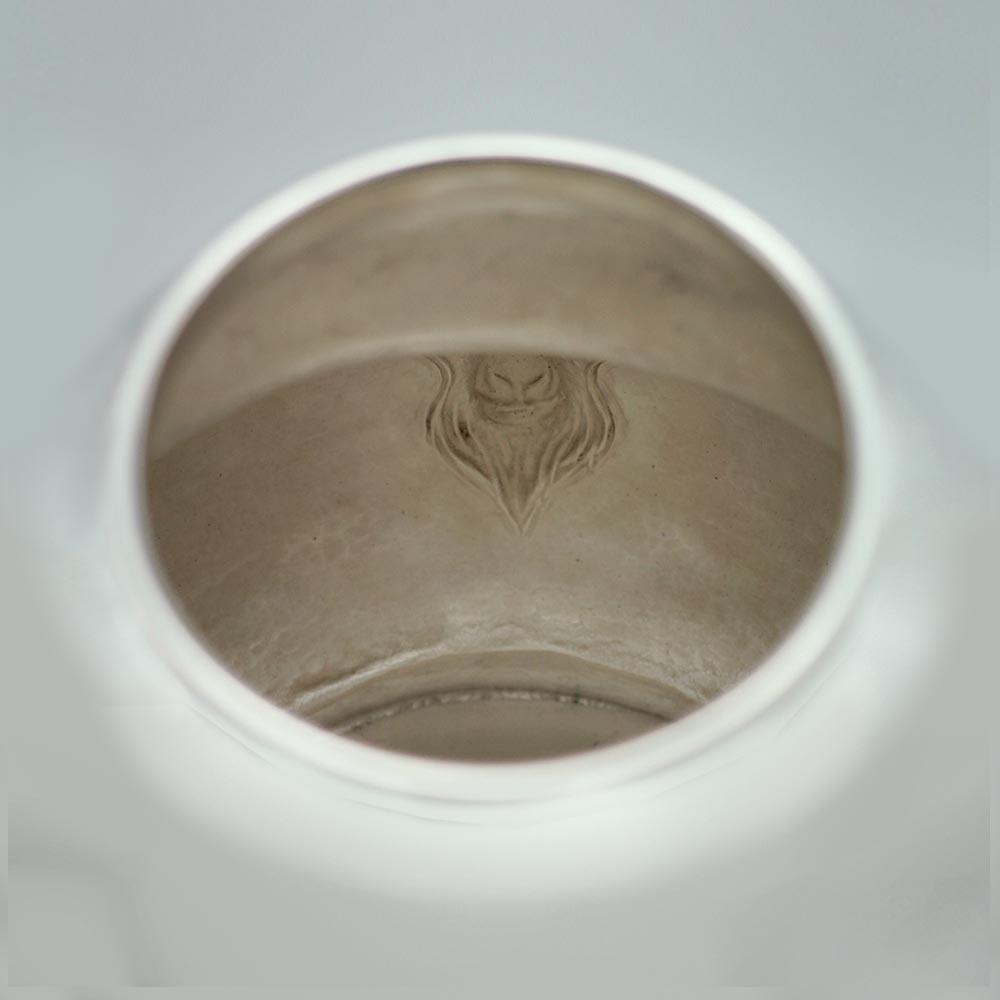 Vase chinois ciselet martelé bélier métal argenté